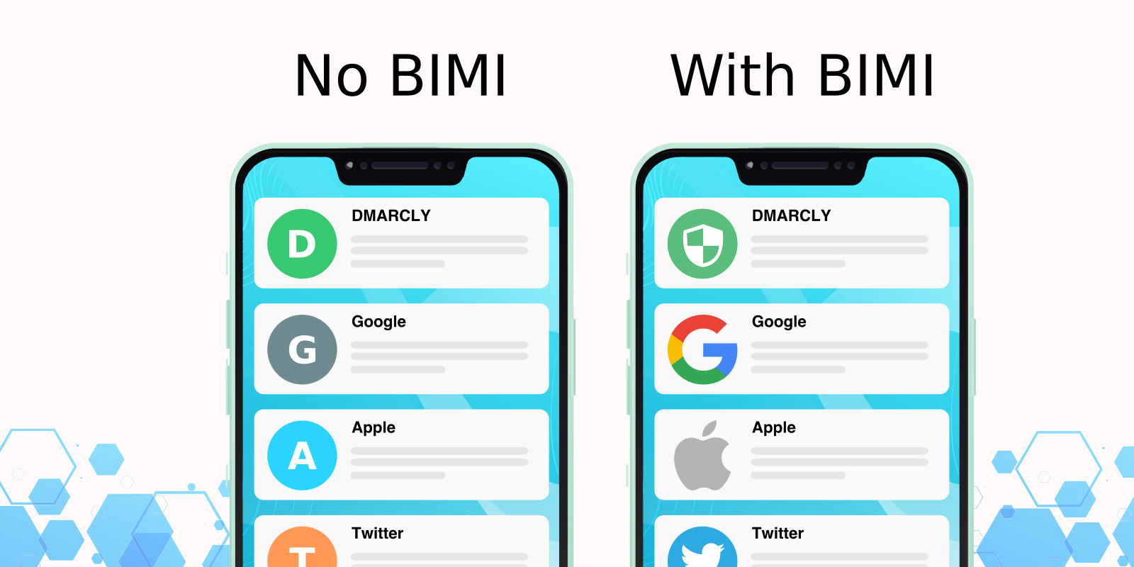 examples of emails with BIMI and without BIMI